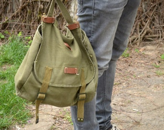 Vintage Military Shoulder Bag, Army Canvas Messenger Bag, Green Light Canvas Army Bag, Cross Body Bag, Unisex Military Haversack