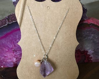 """Sterling Silver Amethyst and Freshwater Pearl Necklace 18"""""""