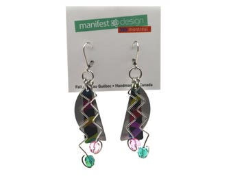 Anodized aluminum sheet and wire half moon earrings with crystal beads, unique, original and chic, multi coloured