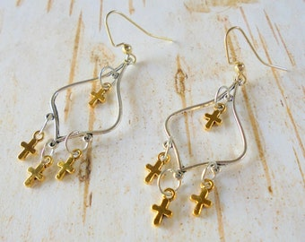 Silver and Gold Cross Earrings (4383)