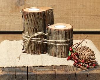 Rustic Wedding Decor, Tree slice Candle Holder, Outdoorsy Votive Holder, centerpiece candle, tree stump, set of 2, wood slice with bark