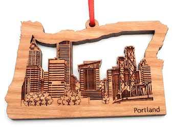 Portland Oregon Christmas Ornament - City Skyline of Portland in the State of Oregon Cut Out - Nestled Pines Signature Cityscape Collection