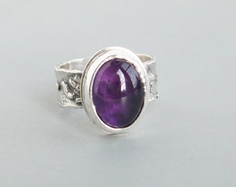 Amethyst Silver Ring Reticulated Sterling Silver Band Ring
