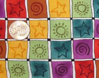 Fabric - 1-3/4 plus Yards - Rainbow Blocks - Quiltsy Destash Party