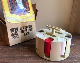 Vintage Hoyle Revolving Poker chip rack set, in box