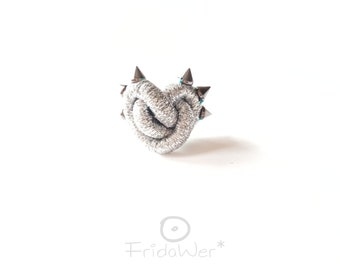 Silver Cocktail Heart Ring with spikes for women Adjustable knot love ring Gift for girlfriend. Fashion feminist jewelry for birthday gifts
