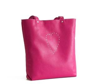 Leather bag, Bag with heart, Pink leather bag, Pink tote, Pink shoulder bag, Shoulder bag, Italian leather bag, Everyday bag