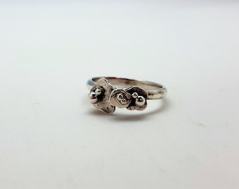 Oxidized 925 Silver ring and granulation