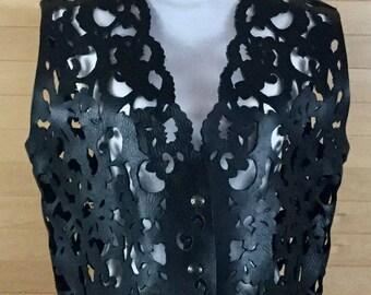 Laser Cut Vintage Black Vest
