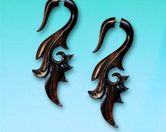 Fake Gauge, Handmade, Organic, split, Cheaters, Plugs, Tribal Jewelry, Eco-Friendly Sarahs Curls - Dark Arang Wood Earrings - W25