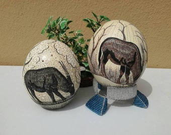 Ostrich Egg with burnt Amber paint