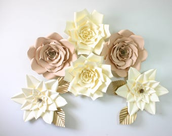 """Paper flower set/6 Large white paper flowers 14""""/Birthday party flower set/Wedding wall decoration/Giant paper flower set """"PASTELLE"""""""""""