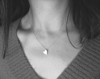 Sweetheart sterling silver necklace - Valentines Day, wedding, bridal, bridesmaids, sweet 16, simple, elegant
