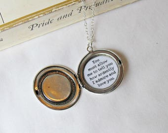 Pride and Prejudice Quote Necklace - Cameo Locket Rose Silver Jewelry Jewellery Jane Austen - Mr Darcy Typography You Must Allow Me To Tell