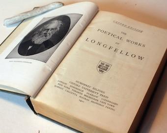 Poetical Works 1921 Henry Longfellow Hardback Vintage old Book Green old books Literature