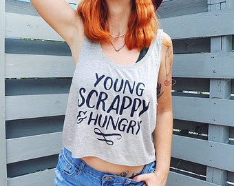 YOUNG & SCRAPPY flowy crop top, sizes small, medium and large.