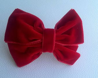Lasso Rojo Terciopelo with Goma. Velvet Red bow with elastic