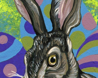 ACEO Artist Trading Card Bunny Rabbit Original Painting Easter Art-Carla Smale