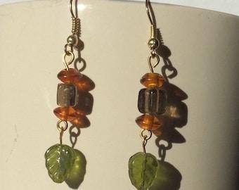 Green leaf drop earrings