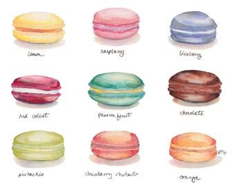 Macarons Menu Watercolor Painting Print - French Cookies - Rainbow Food Illustration Watercolor Art Print, 8x10