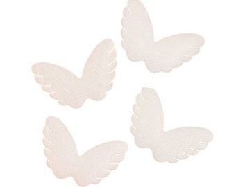"Angel Wings, Puffy Fabric, White, Set of 4 wings, Size 2 1/8"" x 1 1/2"""