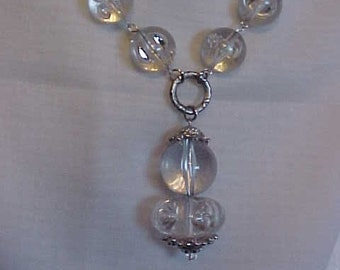 GORGEOUS ACRYLIC Beads Filled with Air-BUBBLES~~Acrylic Bead Necklace~Stylish~Unusual~Silver-Tone Findings~Eye Catching~WoW Factor