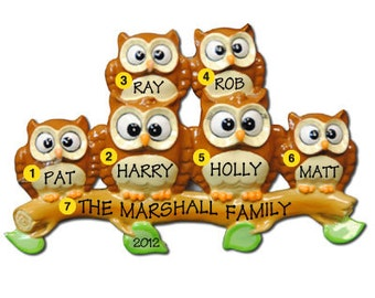 Personalized Christmas Ornament Owl Family of Six-  -Free Personalization