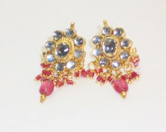 Vintage Pink Cluster Earrings, Jewelry