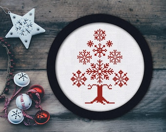 Cross Stitch Pattern Snowflake sampler tree Instant Download PDF Counted Chart