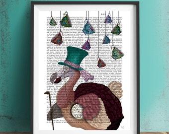 Alice in Wonderland Art Dodo Bird Art dodo gift dodo bird print - Dodo and Teacups - alice in wonderland print Mad hatter tea party decor