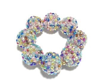 Baby, Toddler, Girls, Teen, Ladies All Bling Rainbow Sparkle Chunky bracelet - Colorful Confetti Chunky Bracelet - Girls Pink Bracelet