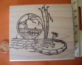 Asian orient scene pond bamboo  rubber stamp wood mounted scrapbooking rubber stamping