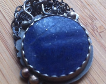 Lapis Lazuli Necklace with Sterling Silver and Recycled 14k Gold