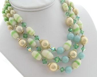 Triple Strand Necklace, Vintage Japan Beads, Art Glass Lucite Crystal Beads, 1950s Beaded Faux Pearl Choker, Mid Century Jewelry