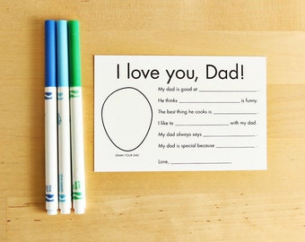 Printable Father's Day Card for Dad Gifts from Kids Interview Questions for Kids Printable Cards Fathers Day Gift Personalized Gift