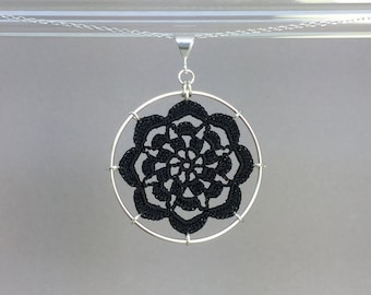 Serendipity doily necklace, black silk thread, sterling silver