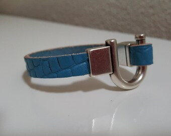 """Wristband leather """"ONLY BLUE"""""""