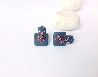 Stud Earrings, Modern Jewelry, Small Earrings, Polymer clay earrings , Statement Earrings, Geometric Earrings , Contemporary Jewelry