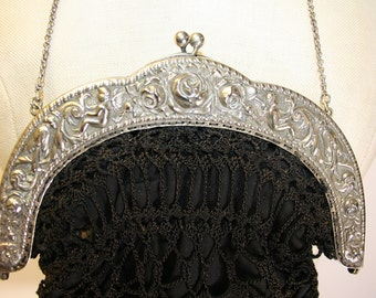 Late 1800's Victorian Reticule with Alpacca Silver Frame