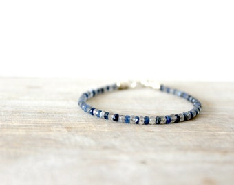 Men's Bracelet with Sapphire and Labrodorite Stones