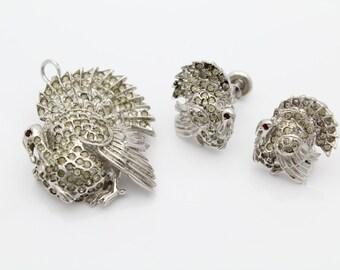 Antique Sterling Silver Turkey Pendant Brooch Earrings Set w Rhinestones SCARCE. [2170]