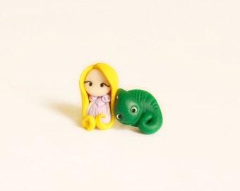 Rapunzel and Pascal stud or magnetic earrings  . Handmade polymer clay. Fimo. Disney jewelry. Tangled jewels. Kawaii.
