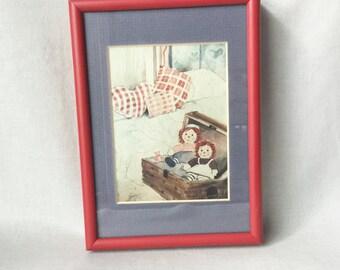 Raggedy Ann and Andy Illustration // Raggedy Ann and Andy // Vintage Wall Art // Vintage Raggedy Ann and Andy (B9)