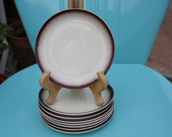 1936 - 1958 Hollydale Pottery of California - Brown Fade Border Set of Eight ( 8 ) Salad / Lunch Plates  - Excellent Condition