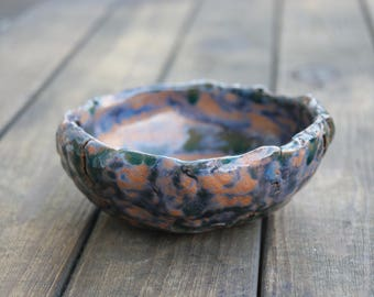ceramics serving bowl ceramics and pottery bowl Pottery bowl Blue Brown bowl Ice cream bowl Small pottery Handmade pottery Gift for her