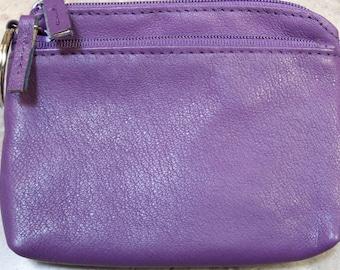 Kleine lila Leder Vintage Geldbörse, Reißverschluss Leder Geldbörse, Vintage Leder Geldbörse, Vintage Geldbörse