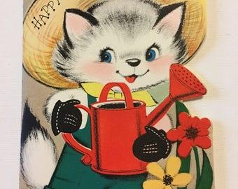 Vintage Birthday Card Three Year Old Kitten Farmer Watering Can