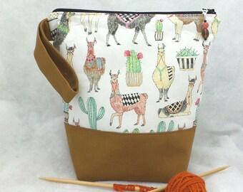 Medium Llamas Knitting Project Bag, Knitting Project Bag, Knitting Tote Bag, Crochet Project Bag