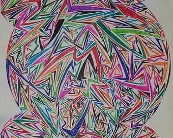 Original Abstract Geometric Art, Abstract Drawing, Geometric Drawing,