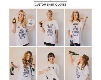 RESERVED: 5 Custom Bridesmaid Shirts - Bride T-Shirt - Bridal Party Getting Ready Outfit Bridesmaid - Robe white and black